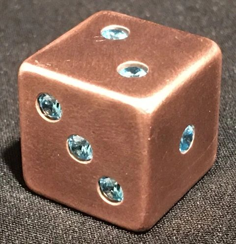 Copper Dice with 21 Inlaid Sapphire CZ Stones