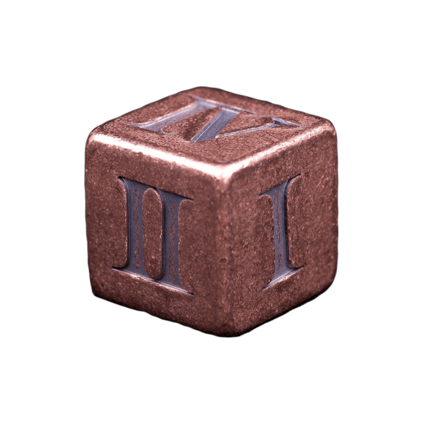 Solid Copper Dice - Roman Numeral Design