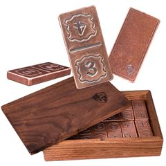 Solid Copper Domino Set - Numbered Design - Double 6 Set