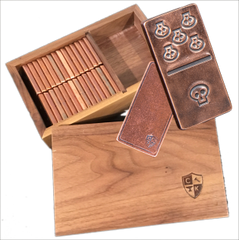 Solid Copper Domino Set - Skull Design - Double 6 Set