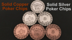 Ultimate Poker Chips - 3 Chip Set - Solid Copper & Silver