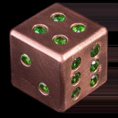 Copper Dice with 21 Inlaid Emerald CZ Stones