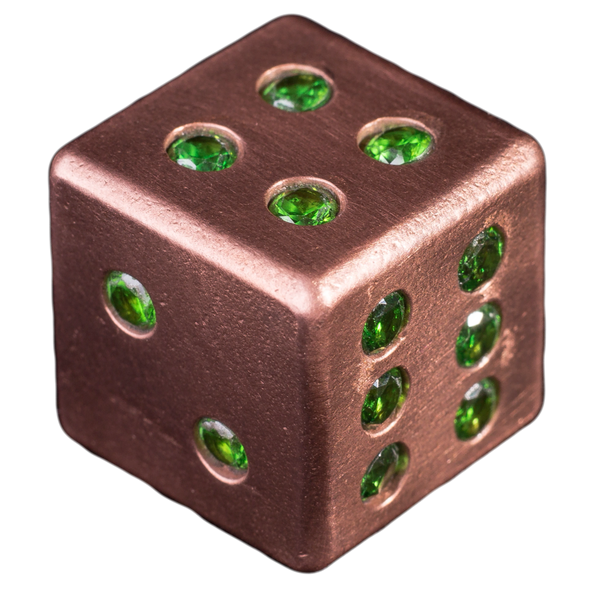 Copper Dice with 21 Inlaid Emerald CZ Stones