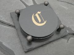 Monogrammed Slated Coaster-C