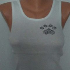 Heart Paw Tank w/ Inverted Black Crystal Heart Paw