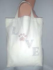 Heart Paw LOVE canvas shopper tote bag