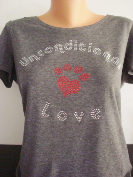 Heart Paw Rhinestone Unconditional Love Shirt Grey