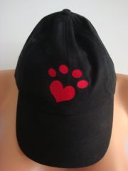 Heart Paw Embroidered Black Cap