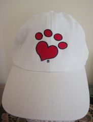 Heart Paw Embroidered White Cap