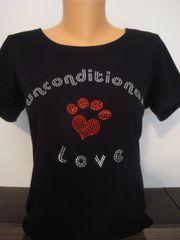 Heart Paw Rhinestone Unconditional Love Shirt Black