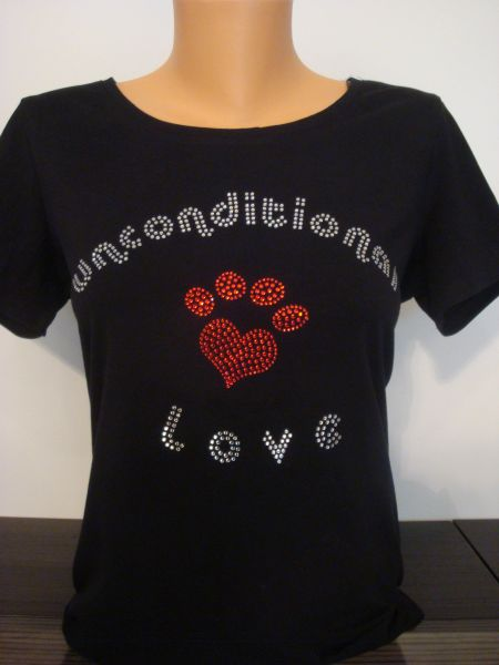 Heart Paw Rhinestone Unconditional Love Shirt Black