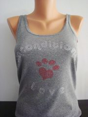 Heart Paw Rhinestone Unconditional Love Tank Top Grey