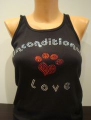 Heart Paw Rhinestone Unconditional Love Tank Top Black
