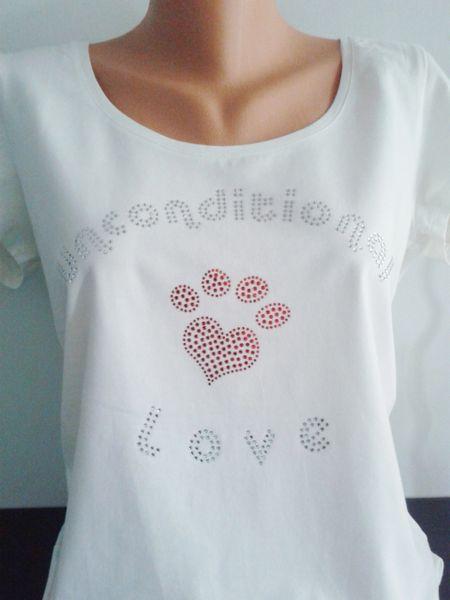 Heart Paw Rhinestone Unconditional Love Shirt White