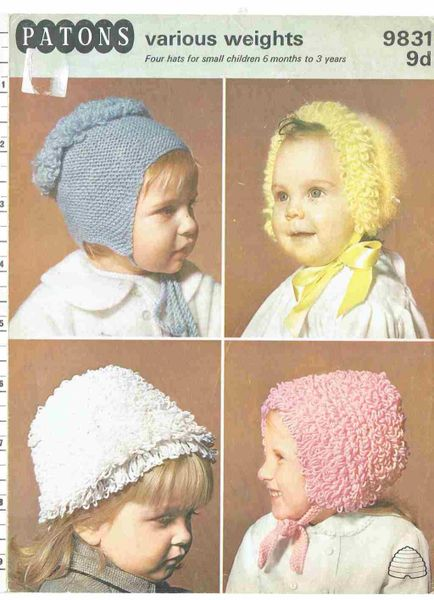 Patons 9831 Baby Loopy Hats Bonnets Vintage Knitting Pattern Knits