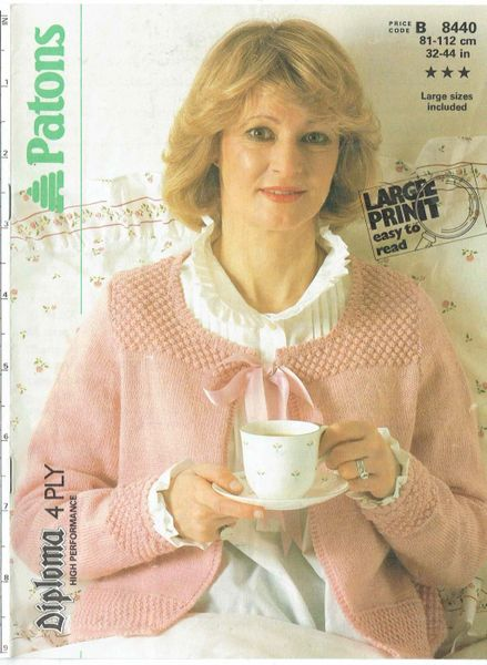 Patons 8440 Ladies Bed Jacket Vintage Knitting Pattern Knits And