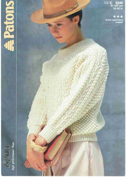 Patons 3248 Ladies Aran Jumper Vintage Knitting Pattern Knits And