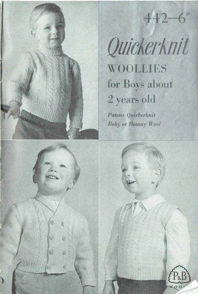 Patons 442 Boys Cardigan Jumper Vintage Knitting Pattern Knits And