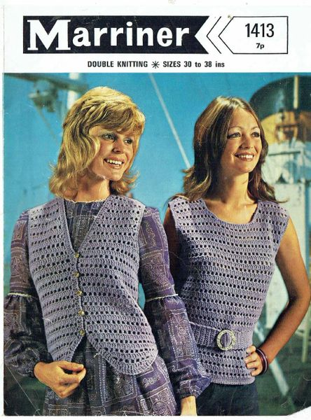 Marriner 1413 Ladies Summer Top Waistcoat Vintage Crochet Pattern