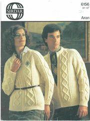 6a4baa1a1c9 Sirdar 6156 ladies mens aran cardigan vintage knitting pattern