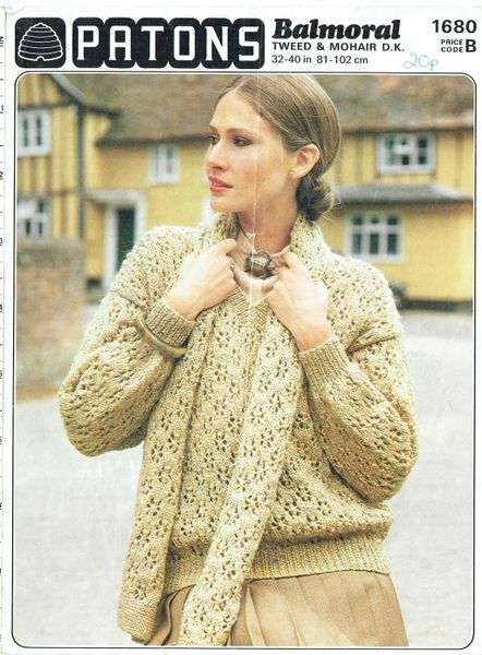 Patons 1680 Ladies Jumper And Matching Scarf Vintage Knitting Pat