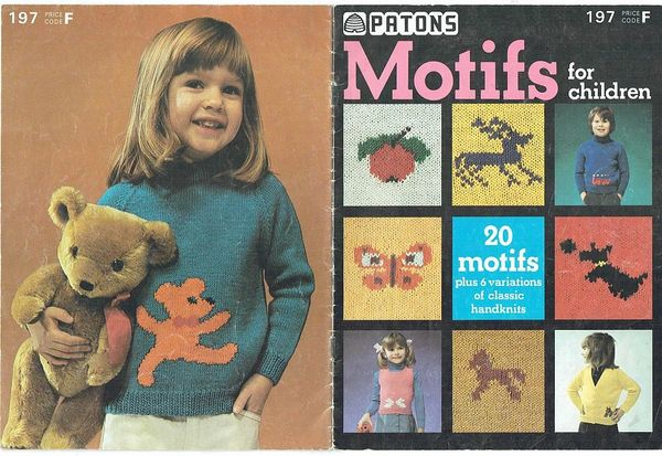 Patons 197 Motifs For Children Vintage Knitting Pattern Knits And