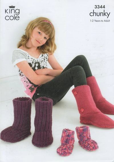 King Cole 3344 Girls And Ladies Ugg Style Boot Socks Knitting Pat