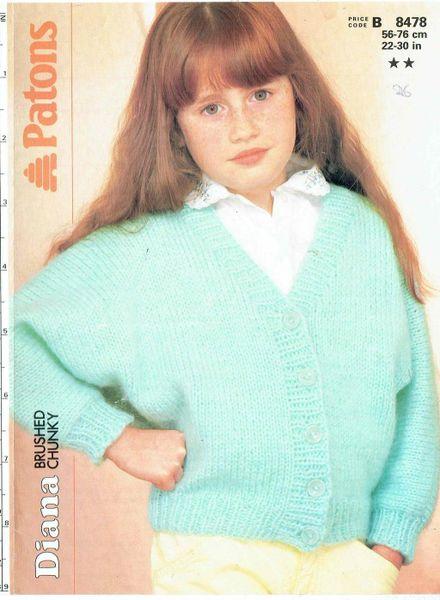 Patons 8478 Girls Cardigan Chunky Vintage Knitting Pattern Knits