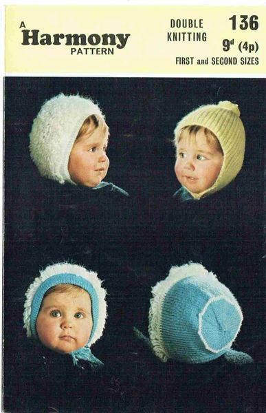 Harmony 136 Baby Hats Bonnet Vintage Knitting Pattern Knits And Pieces