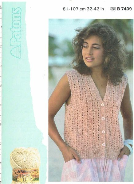 Patons 7409 Ladies Summer Top Waistcoat Vintage Knitting Pattern