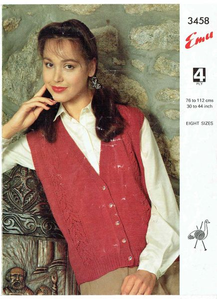 Emu 3458 Ladies Waistcoat Vintage Knitting Pattern Knits And Pieces