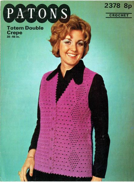 Patons 2378 Ladies Long Line Waistcoat Vintage Crochet Pattern