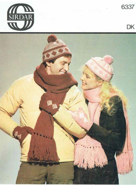 c089ed71fc0 Sirdar 6337 ladies mens beanie hat and scarf sets vintage knitting pattern