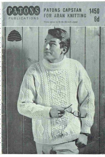 Patons 1450 Mens Aran Jumper Vintage Knitting Pattern Knits And Pieces