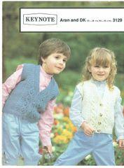 a7d3af663d1f52 Keynote 3129 childrens aran waistcoat vintage knitting pattern
