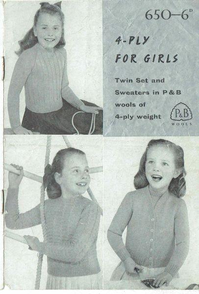 39072fb6b4c0 Patons 650 girls twinset jumper cardigan vintage knitting pattern ...