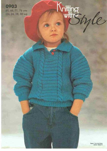 Patons Knitting With Style 903 Childrens Jumper Vintage Knitting