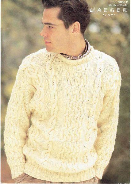Jaeger 5856 Mens Aran Jumper Vintage Knitting Pattern Knits And Pieces