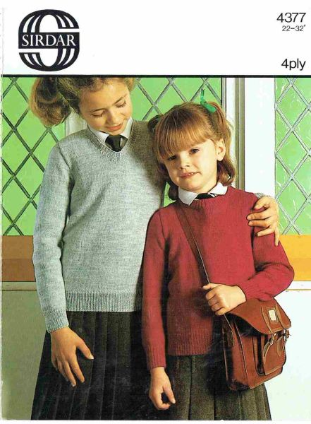 Sirdar 4377 Childrens Jumper Vintage Knitting Pattern Knits And Pieces