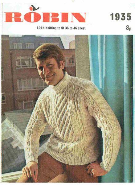 Robin 1935 Mens Aran Jumper Vintage Knitting Pattern Knits And Pieces
