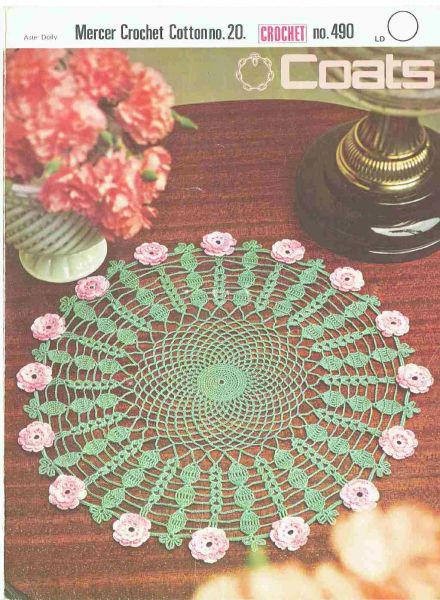 Coats 490 Rose Doily Mat Vintage Crochet Pattern Knits And Pieces