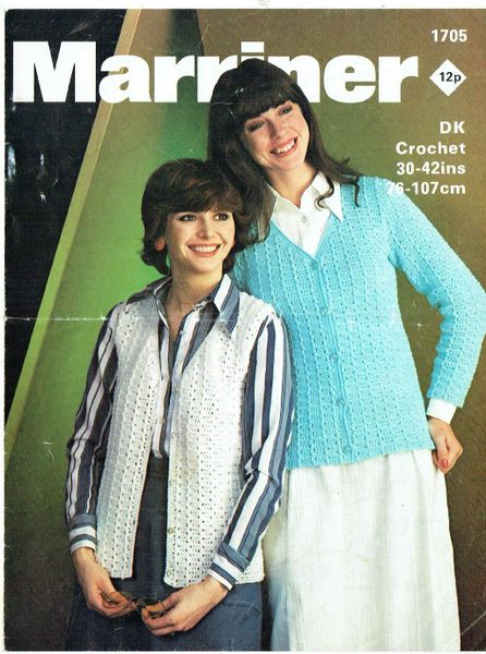 Marriner 1705 Ladies Waistcoat Cardigan Vintage Crochet Pattern