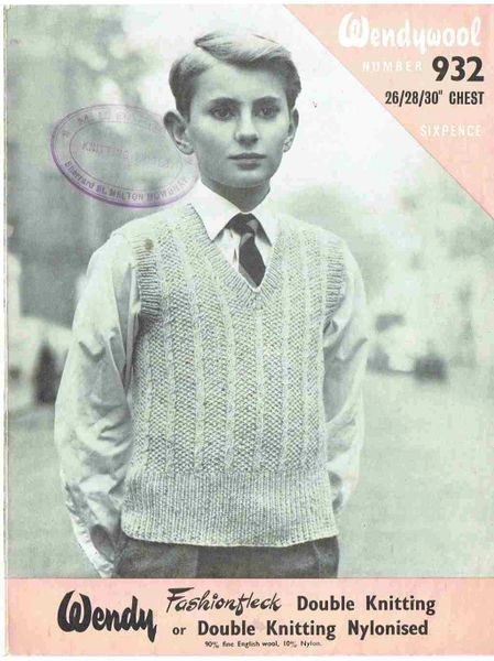 Wendy 932 Boys Jumper Vintage Knitting Pattern Knits And Pieces