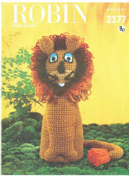 Robin 2377 Lion Vintage Toy Crochet Pattern Knits And Pieces