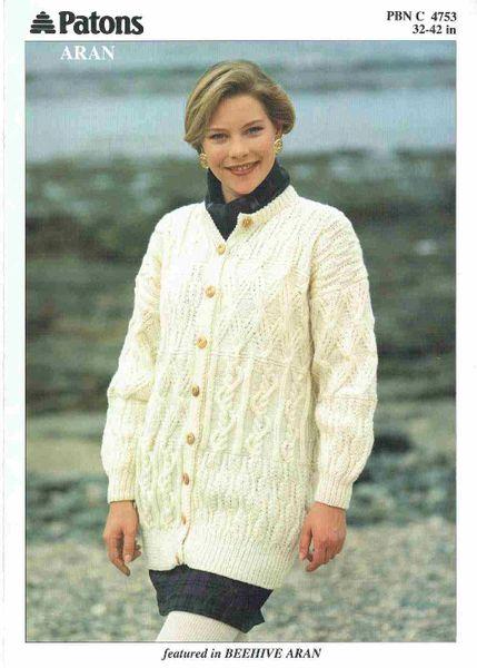 Patons 4753 Ladies Aran Cardigan Vintage Knitting Pattern Knits