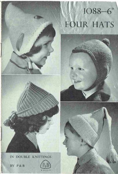 Patons 1088 Baby Hats Vintage Knitting Pattern Knits And Pieces