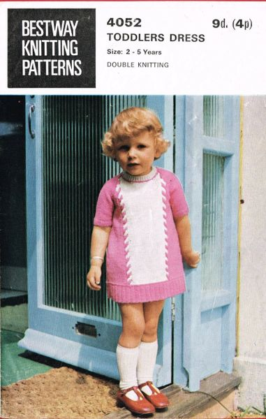 Bestway 4052 Girls Toddler Dress Vintage Knitting Pattern Knits