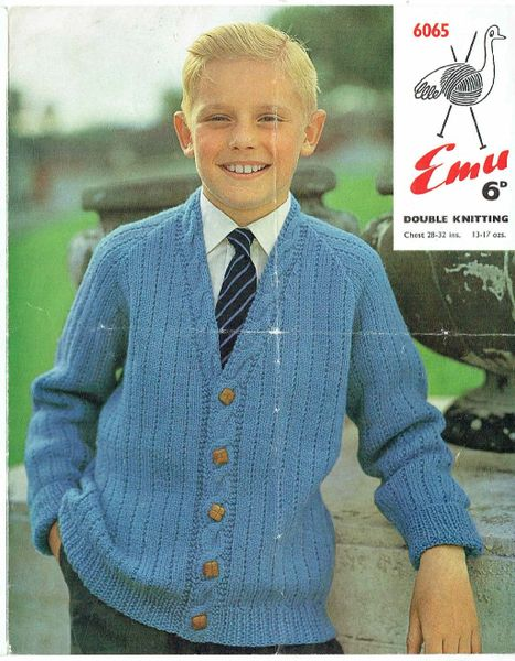Emu 6065 Boys Cardigan Vintage Knitting Pattern Knits And Pieces