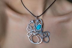 Abstract Turquoise Howlite Pendant