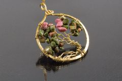 Rhodonite and Unakite Tree of Life Necklace